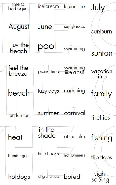 cutting cafe summer mini wordsprintable stamp set