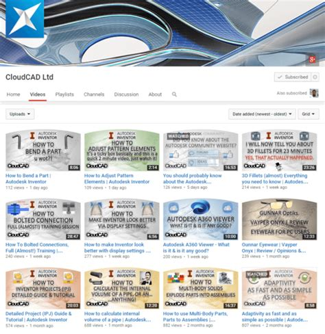 autocad tutorial youtube channel the top five autodesk inventor videos from cloudcad