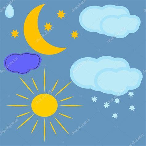 sol y la luna nubes estrellas vector de stock 169 son conjunto de nubes el sol y la luna formada en la infancia