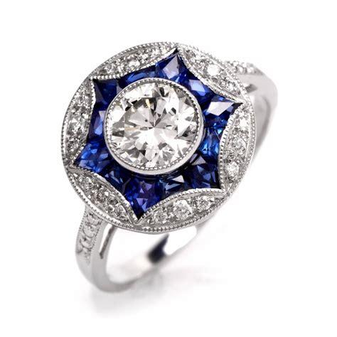 sapphire platinum engagement ring at 1stdibs