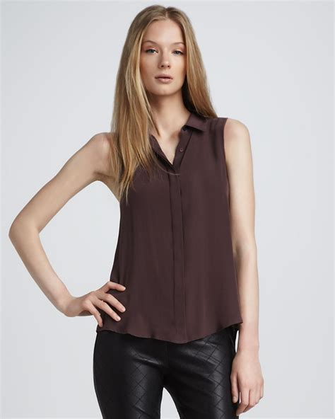 Fashion Perspective Model Debate Its Not All Fashions Fault Second City Style Fashion by Theory Sleeveless Silk Blouse In Brown Auburn Smoke Lyst