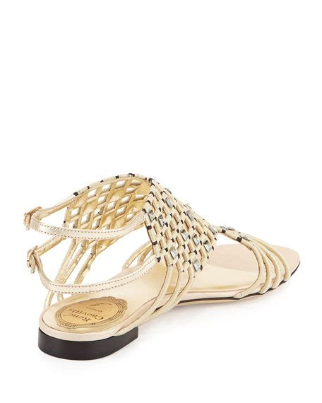 Jr Flat Swarovski Shoes 698 2 rene caovilla caged flat sandal platinum black neiman