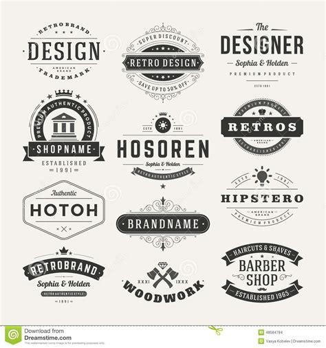 vintage classic design label elements retro vintage insignias or logotypes set vector stock