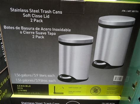 Kitchen Garbage Cans Costco Sensible Eco Living Stainless Steel Trash Cans