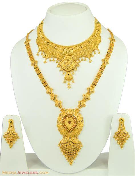 gold bridal set 22k meenakari patta set bridal stbr11095 22k gold bridal necklace set with meenakari