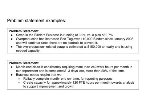 business problem statement template a3 problem solving