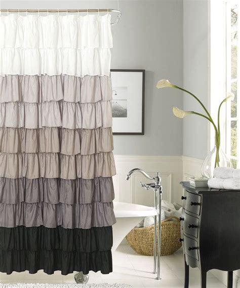 black ruffle shower curtain dainty home silver black flamenco ruffle shower curtain