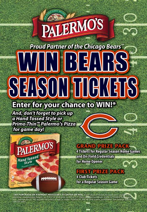Cbs Sweepstakes - palermo s pizza chicago bears 174 season ticket sweepstakes 171 cbs chicago