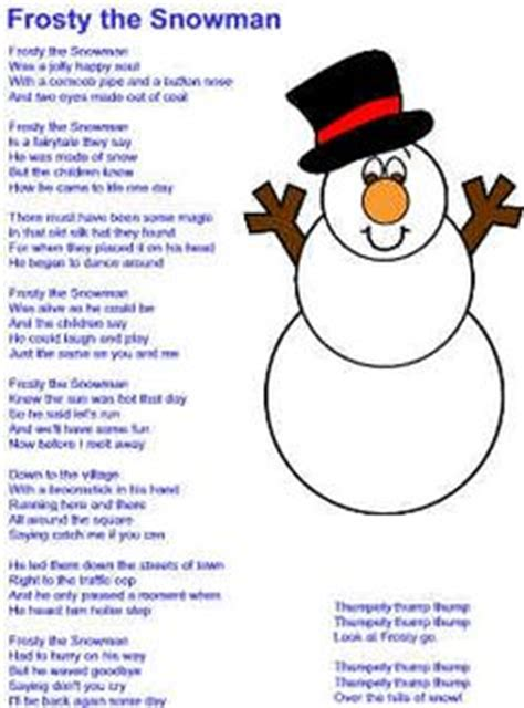 printable lyrics for frosty the snowman day 29 a song from my early childhood jingle bell song