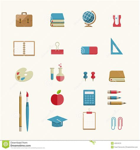 school supplies icon set back education and school supplies icon set stock vector