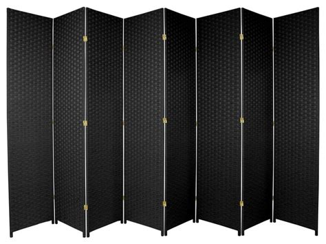 7ft room divider 7 ft woven fiber room divider black 8 panel traditional screens and wall dividers