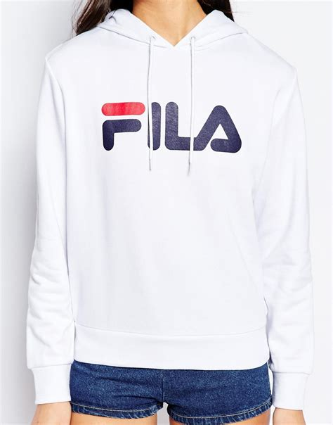 Hoodie Zipper Sweater Fila lyst fila oversized pull hoodie with large logo in white