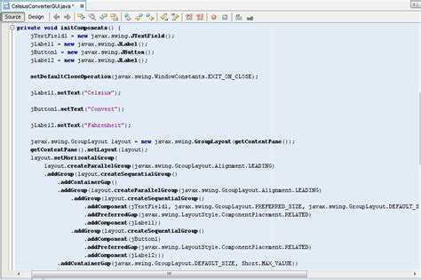 swing gui exles adjusting the celsiusconverter gui the java tutorials
