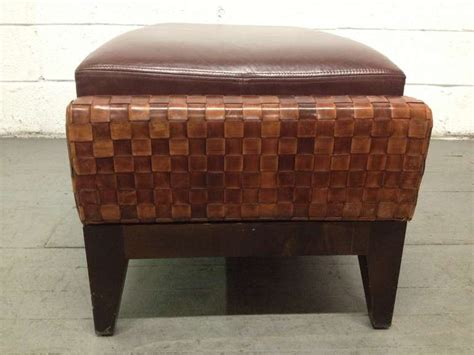 decorative ottomans decorative woven leather ottoman for sale at 1stdibs