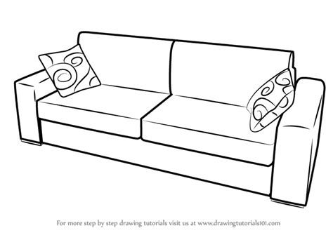 sofa drawing learn how to draw sofa with cushions furniture step by