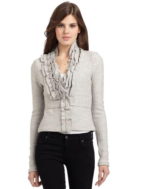 knit ruffle sweater pattern bcbgmaxazria wool knit ruffle collar cardigan in gray lyst