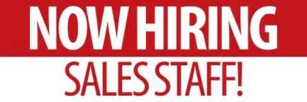 now hiring sales staff