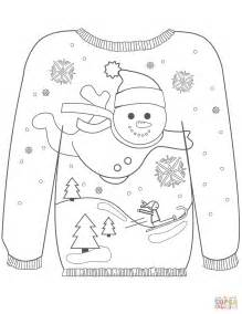 printable ugly christmas sweater christmas ugly sweater with a snowman motif coloring page