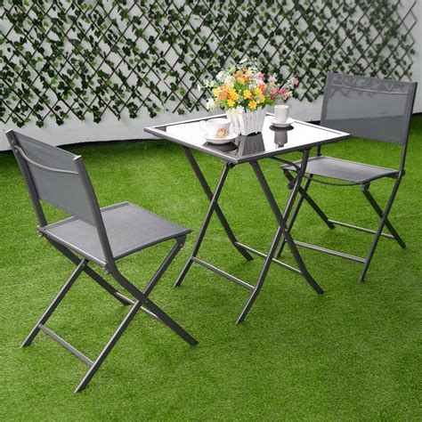 3pcs bistro set garden backyard table chairs outdoor patio