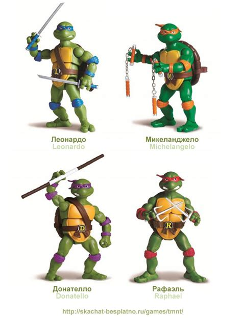 mutant turtles names and colors and weapons