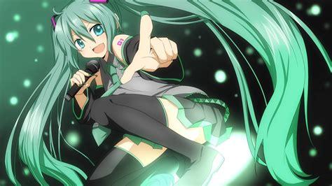 wallpaper green anime tattoos vocaloid hatsune miku green eyes green hair anime