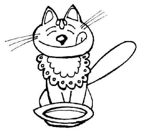 cat eating coloring page coloringcrewcom