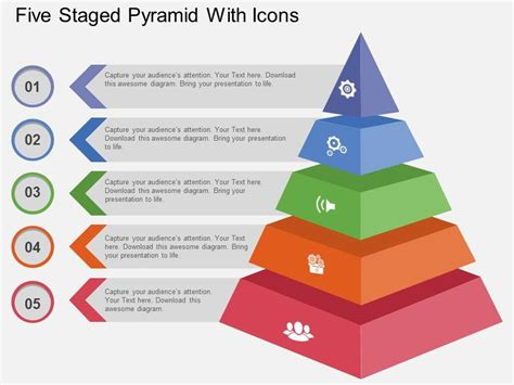 Use Five Staged Pyramid With Icons Flat Powerpoint Design Powerpoint Presentation Templates Powerpoint Pyramid Template