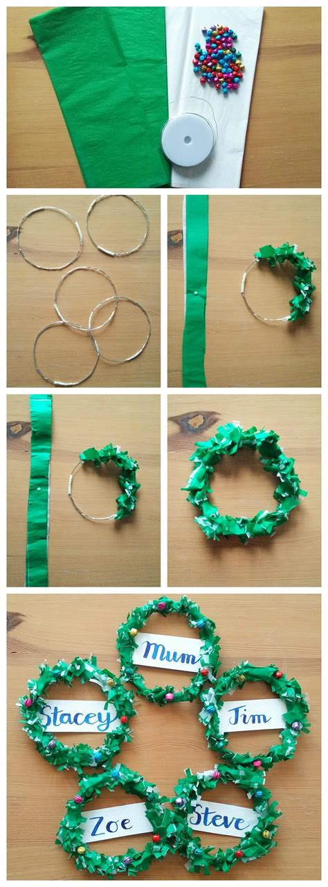 How To Make A Tissue Paper Wreath - how to make tissue paper wreath place cards