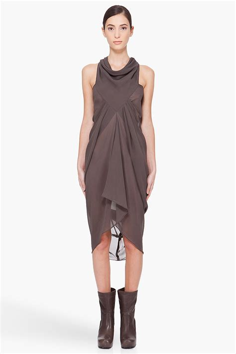 Silk Drape Dress rick owens grey silk drape dress in gray grey lyst