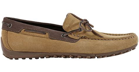 boat shoes geox lyst geox snake suede boat shoes in natural for men