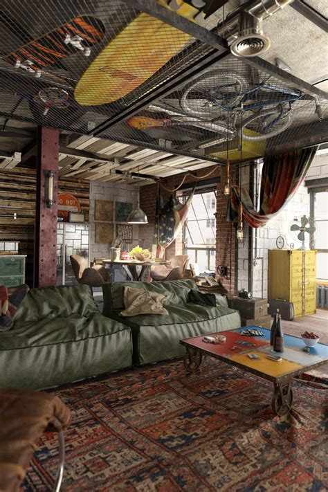Industrial Loft Design With A Strong Masculine Feel And Character DigsDigs