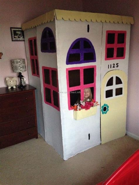 Kids Houses With Recycling Of Cardboard Upcycle Art Cardboard Cottage Playhouse