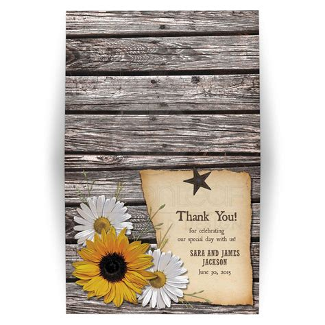 Sweet Designs Kitchen Country Wedding Thank You Card Rustic Sunflower Daisy Wood