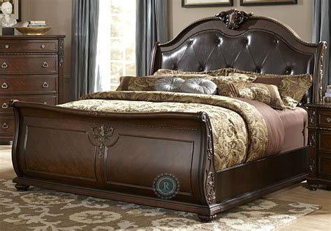 hillcrest manor genuine leather sleigh bedroom set from