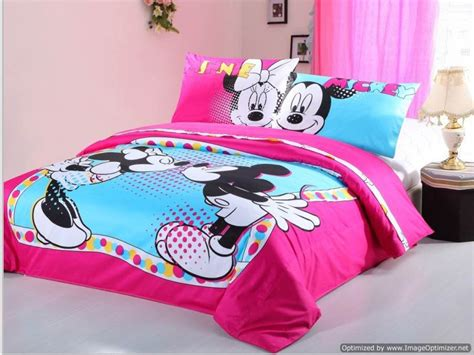 minnie bed set twin duvet covers comforter sets 4pc cute pink blue mickey