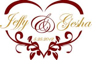heart shaped wedding monogram for a gobo bellus designs