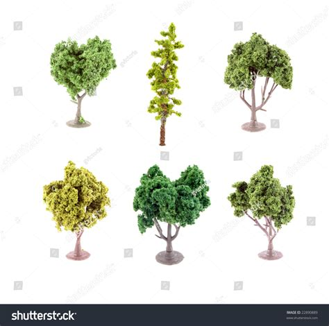 set of small miniature artificial tree used in model sets