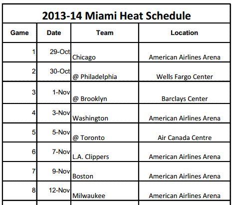 printable heat schedule miami heat printable schedule 2013 14