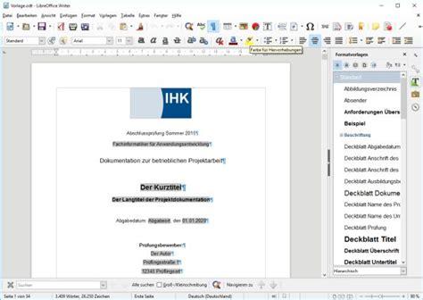 word vorlage dokumentation libreoffice vorlage f 252 r die projektdokumentation der it