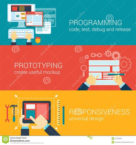 flat style process programming prototyping infographic