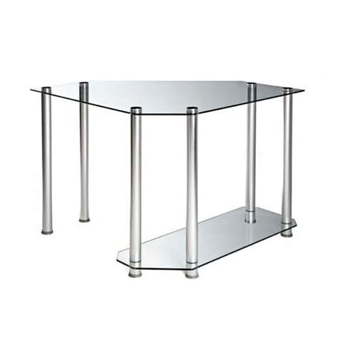 glass corner computer desk rta clear glass corner computer desk silver ct 013