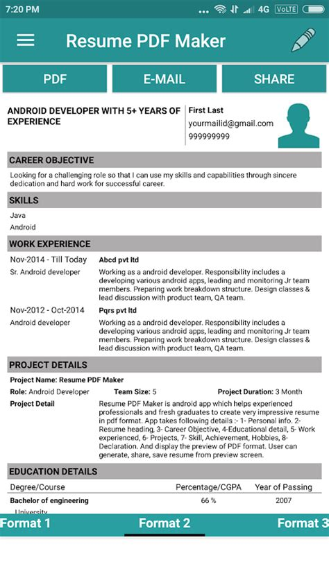 Pdf Resumes by Resume Pdf Maker Cv Builder Android Apps On Play