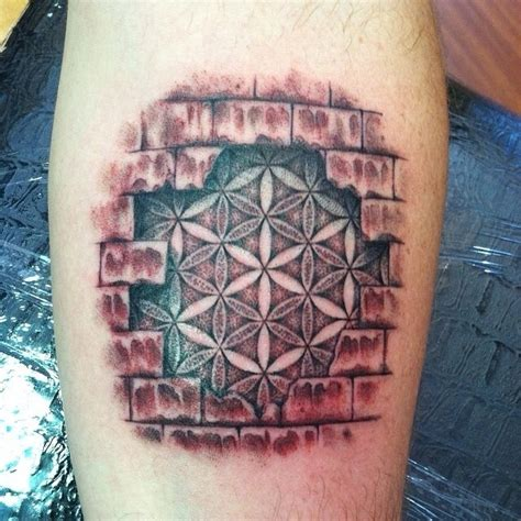 brick tattoo flower of in brick wall on arm tattooimages biz