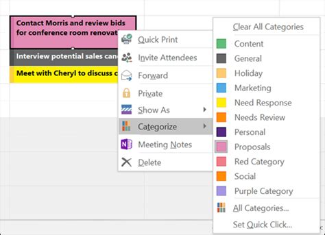 color categories assign a color category to a calendar appointment meeting