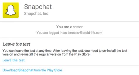 snapchat beta apk snapchat for android goes beta brings new features to those willing to test them droid