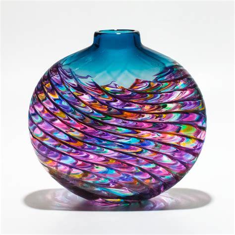 Vase Artwork by Aquamarine Violet Optic Rib Vase By Michael Trimpol And