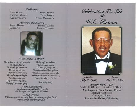 w c brown obituary aa rayner and sons funeral home