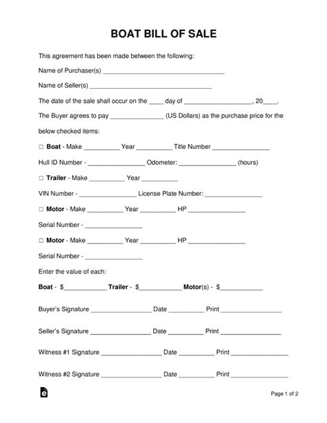 blank bill of sale for boat motor and trailer free boat vessel bill of sale form word pdf eforms