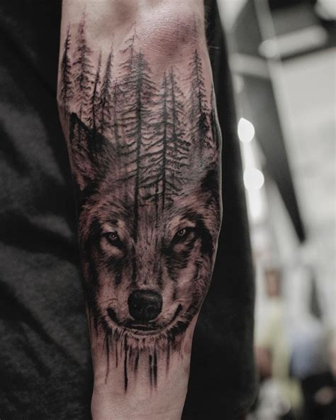 wolf forest tattoo western realism black and grey archives chronic ink