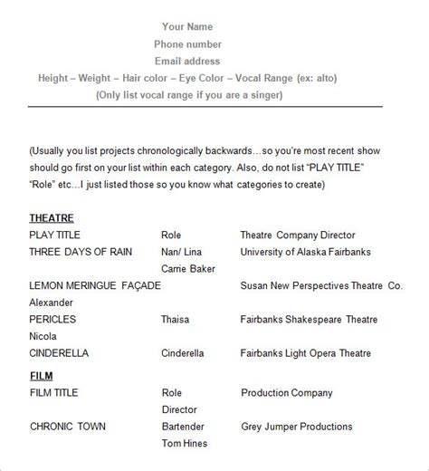 excellent actors resume format 11 acting resume templates free sles exles